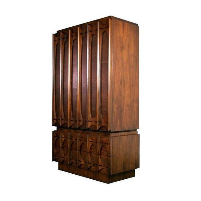 1970s Mid Century Modern Paul Evans Brutalist Style Sculpted Walnut Gentleman's Chest / Armoire For Sale - Image 5 of 5