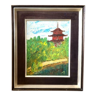 """Mid Century Painting - """"Pagoda"""" - Signed and Dated 1971 For Sale"""