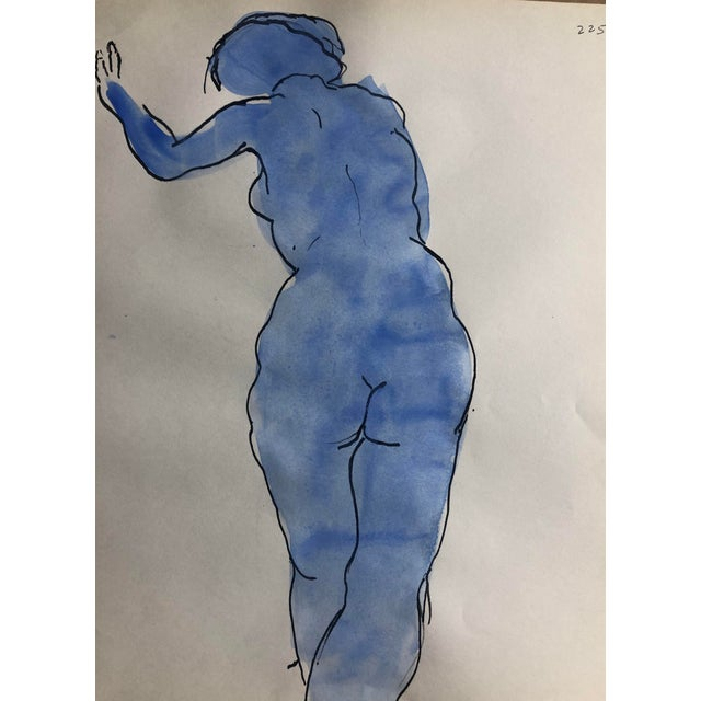 Nude Blue Female Figure Study, 1950s For Sale - Image 4 of 4