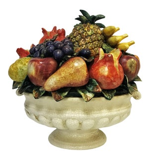 Large Scale Colorful Majolica Fruit Centerpiece For Sale