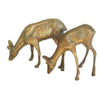 Vintage Grazing Brass Deer Figures - A Pair