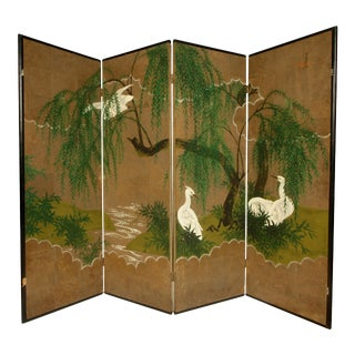 """Robert Crowder """"Weeping Willows and Herons"""" Hand Painted Screen For Sale"""