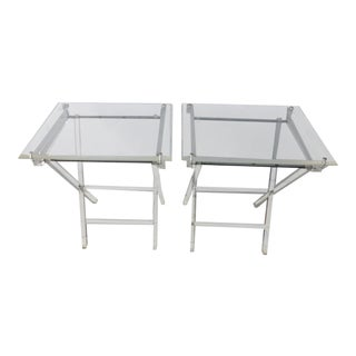 Vintage 1970's Lucite Folding Tray Tables - a Pair