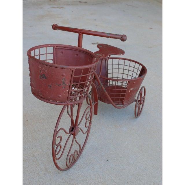 Nostalgic Red Metal Yard Bike Planter - Image 3 of 4