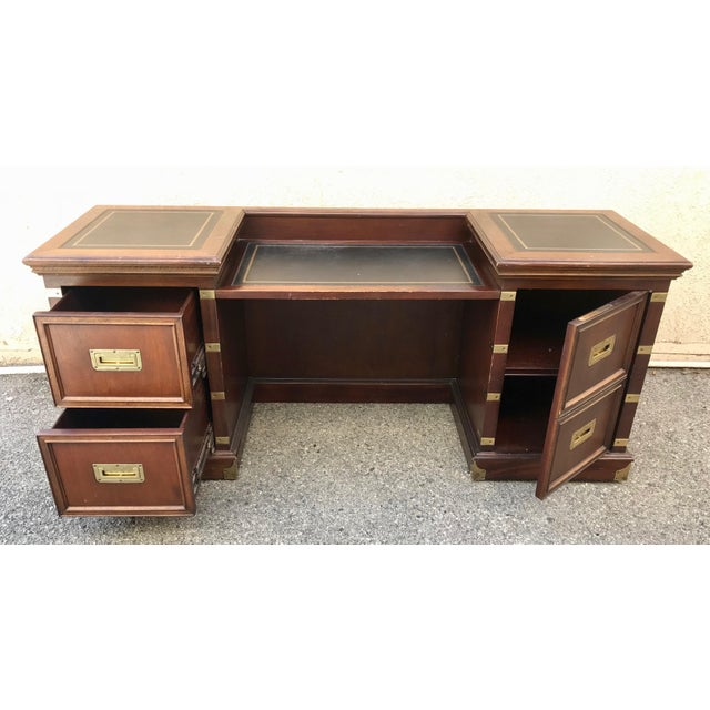 Alex Stuart Design large vintage executive desk. High quality, American made in Chatsworth, Ca. of solid oak and brass....