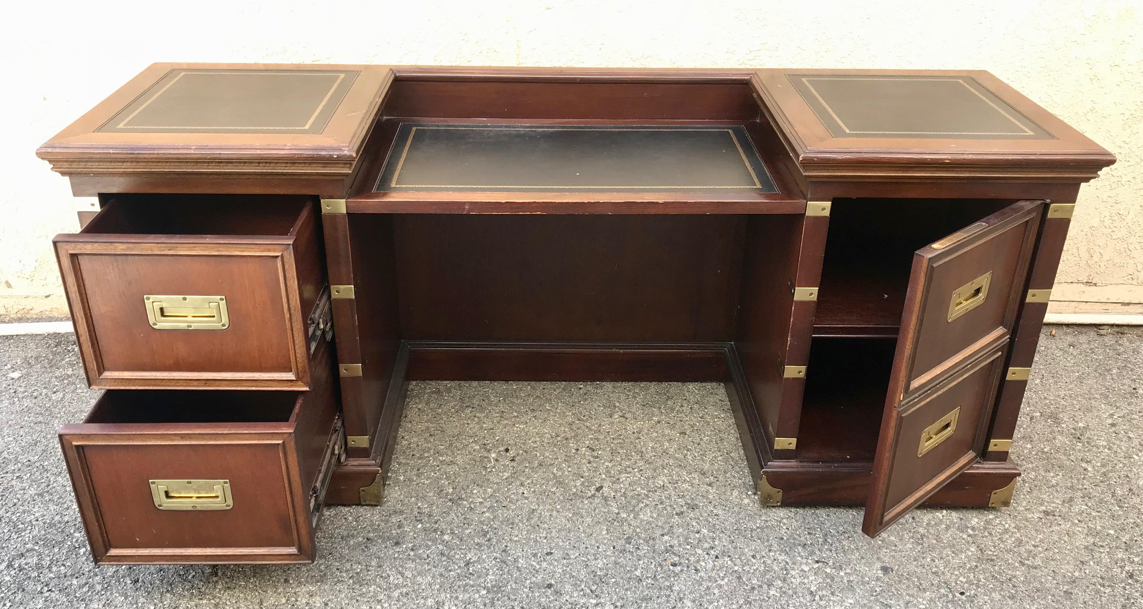 1970s Campaign Executive Desk With Brass Hardware