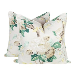 Cream & Green Peony Chintz Pillows - A Pair