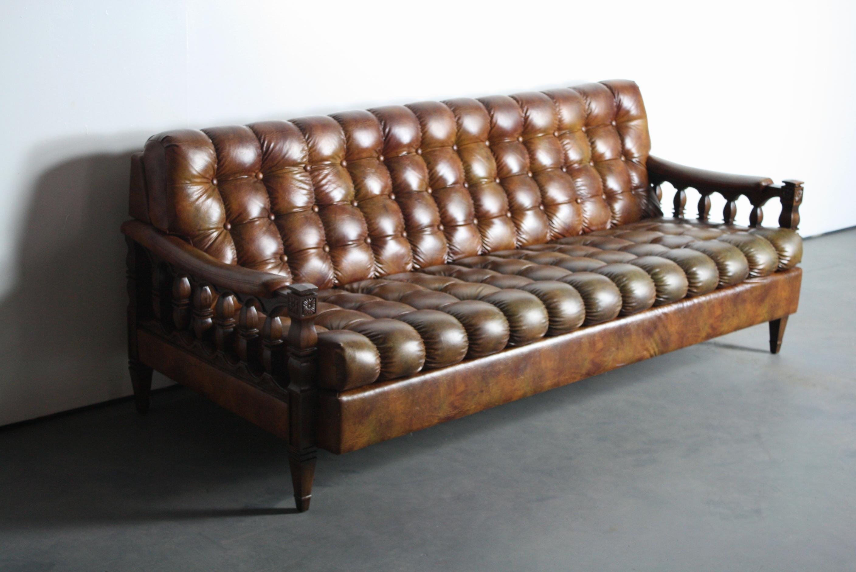 1970s Spanish Revival Tortoiseshell Tufted Sofa   Image 4 Of 11