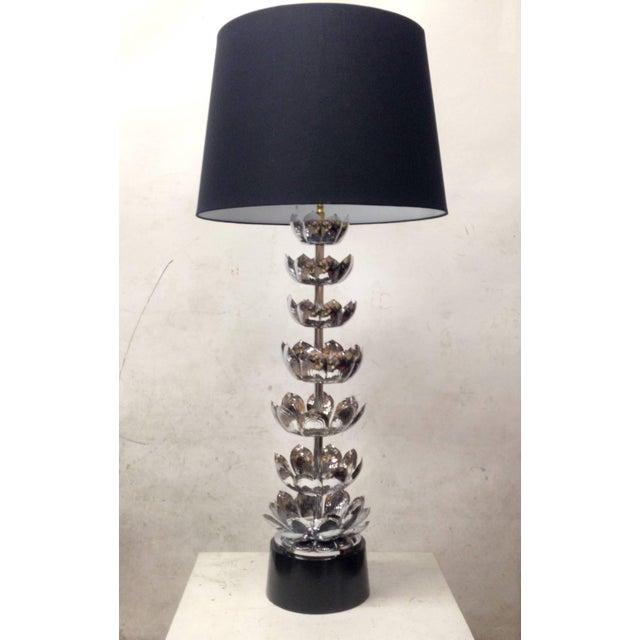 Tall Chrome Lotus Feldman Table Lamp - Pair - Image 3 of 8