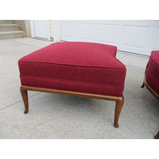Wood Robsjohn Gibbings for Widdicomb French Style Lounge Chair and Ottoman For Sale - Image 7 of 12