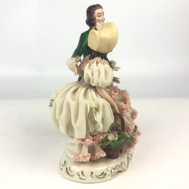 Rococo Vintage Dresden Style Porcelain Couple Figurine For Sale - Image 3 of 6