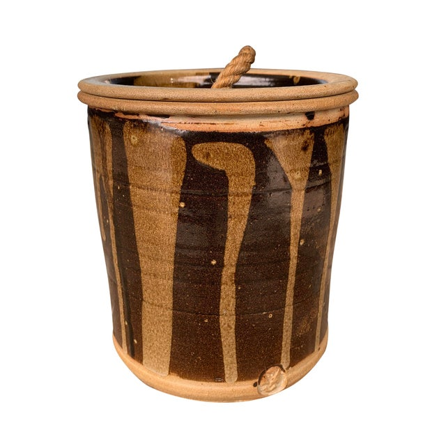 Mid 20th Century Vintage Studio Pottery Lidded Jar For Sale - Image 5 of 13