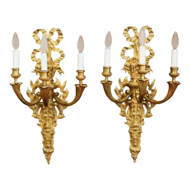 Mid-19th Century French Louis XVI Bronze Dore Three-Light Wall Sconces - a Pair For Sale