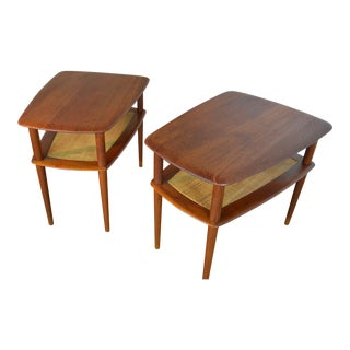 Pair of Peter Hvidt and Orla Molgaard Nielsen for France & Son Teak End Tables For Sale