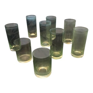 Vintage Green Glasses - Set of 9 For Sale