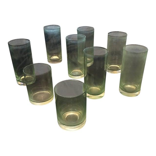 Vintage Green Glasses - Set of 9 For Sale