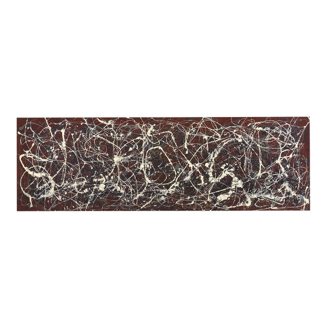 """Jackson Pollock Number 13a: Arabesque 16"""" X 37.75"""" Poster 2007 Abstract Red, White Splatter, Paint For Sale"""