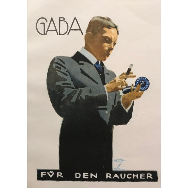 Original 1926 German Art Deco Tobacco Print, Gaba For Sale - Image 4 of 6