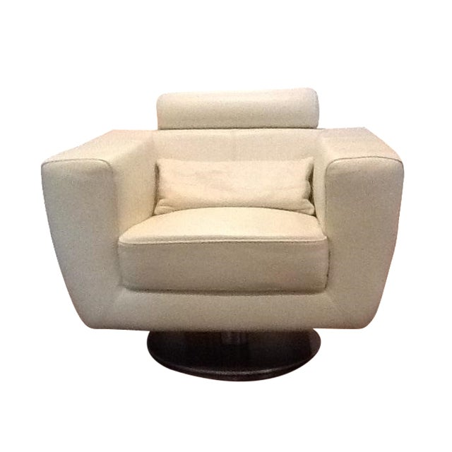 Italian Leather Cigar Swivel Chairs - a Pair For Sale