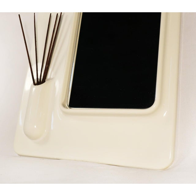 Italian White Plastic Italian Mod Mirror For Sale - Image 3 of 5