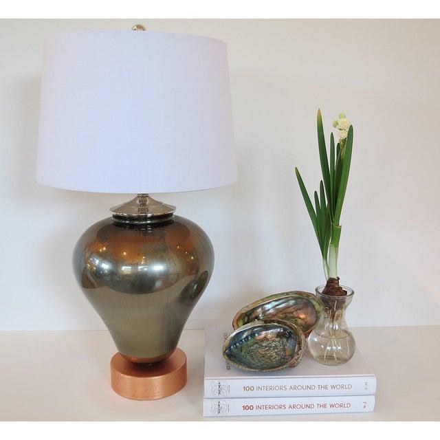 Vintage Mercury & Copper Leaf Glass Lamp - Image 9 of 9