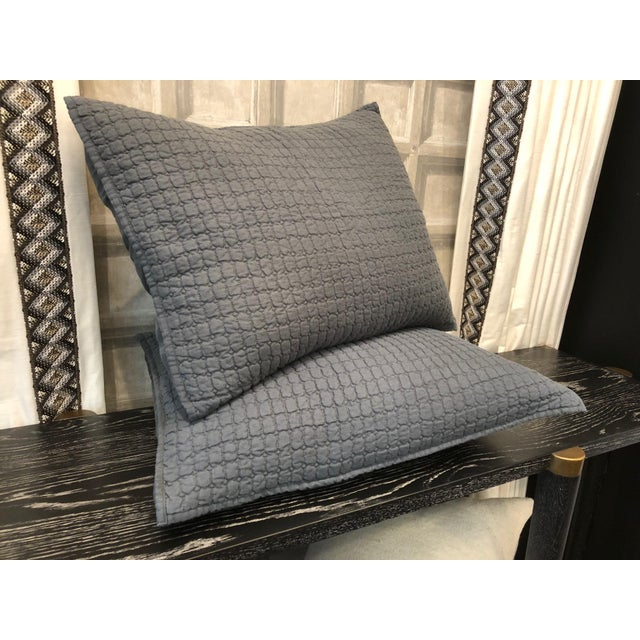 Catalina Steel Blue Standard Shams - A Pair For Sale In Chicago - Image 6 of 8