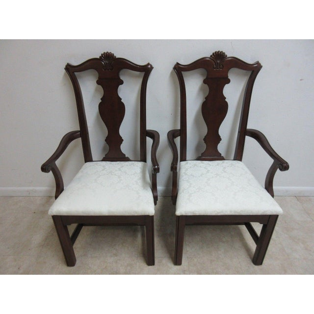 Pennsylvania House Pennsylvania House Cherry Shell Carved Dining Room Arm Chairs - Set of 4 For Sale - Image 4 of 11