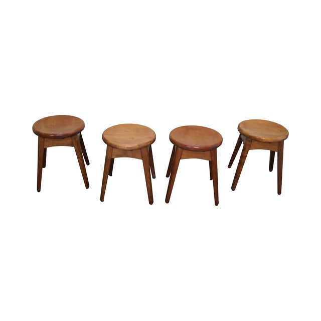 Vintage Solid Maple Stools or Benches - Set of 4 - Image 1 of 10