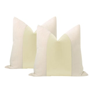 "22"" Cashmere Mohair Panel + Linen Pillows - a Pair For Sale"