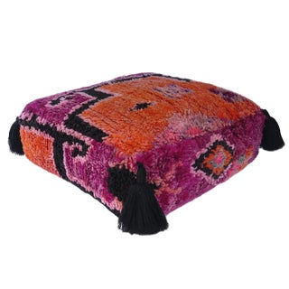 Moroccan Magenta and Orange Vintage Fabric Pouf For Sale