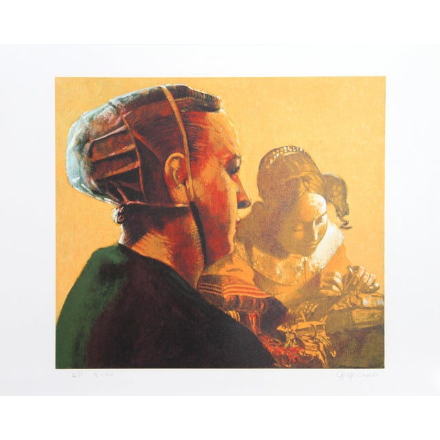Modern George Deem, Woman in Green With Vermeer's Lacemaker, Lithograph For Sale - Image 3 of 3