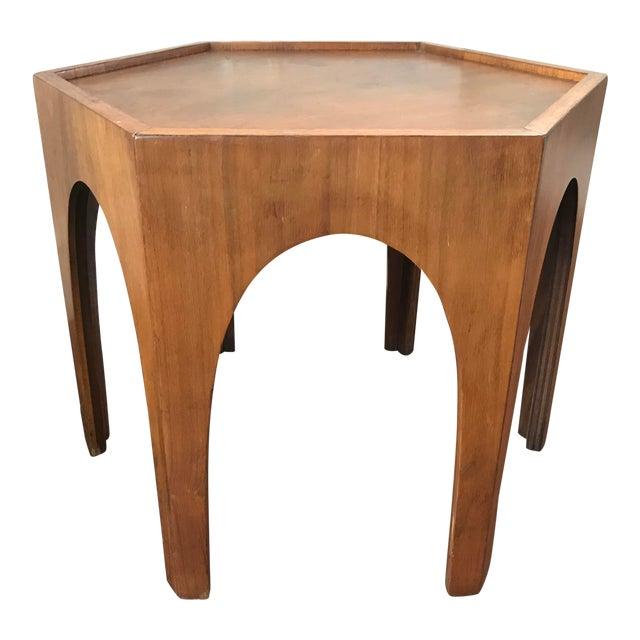 Vintage Mid Century Modern Danish Teak Hexagonal Side Table For Sale