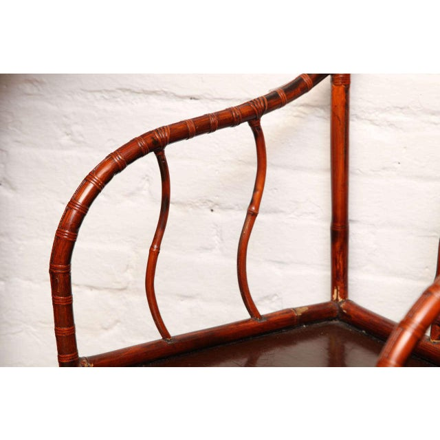 Single 19th Century Chinese Horseshoe-Back Bamboo Armchair with Elm Base For Sale In New York - Image 6 of 12