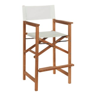 Captain Bar Foldable Teak Outdoor Bar Stool with Arms and a White Textilene Fabric For Sale