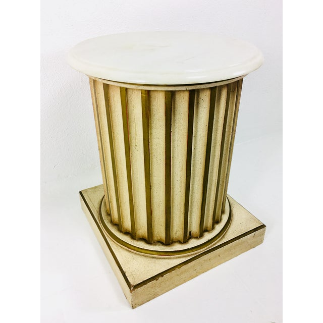 White Carrera Top Column Side Table For Sale - Image 9 of 10