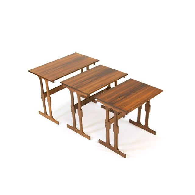 Red Cfc Silkeborg Rosewood Nesting Tables From Denmark - Set of 3 For Sale - Image 8 of 10