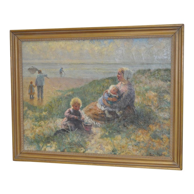 Carl Mulertt (1869-1915) Impressionist Oil Painting Mother & Child C.1910 For Sale