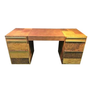 Paul Evans Patchwork Burled Wood and Leather Desk For Sale