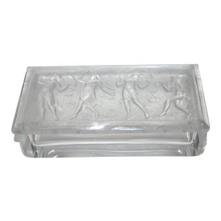 Vintage R. Lalique Style Frosted Glass Box With Piper and Dancers For Sale