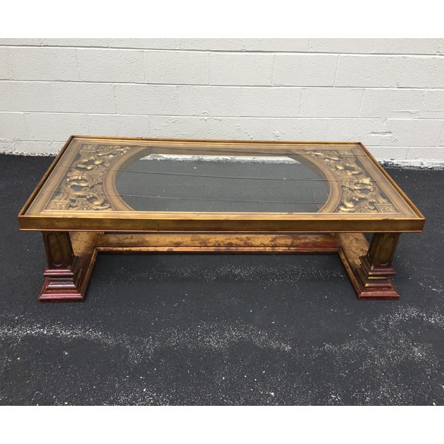 Asian Weiman Gilt Wood Chinoiserie Carved Coffee Table For Sale - Image 3 of 11