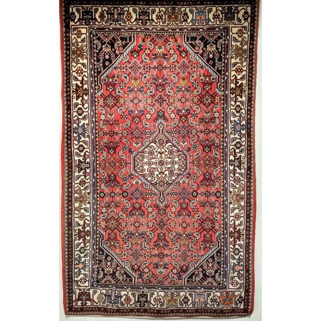1950s Persian Handmade Village Carpet Rug 4′3″ × 6′11″ For Sale - Image 13 of 13