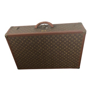 1940s Mid-Century Modern Brown Leather Louis Vuitton Suitcase For Sale