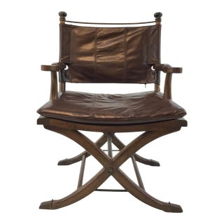 Transitional Thomasville Leather Safari Campaign Style Desk Chair For Sale
