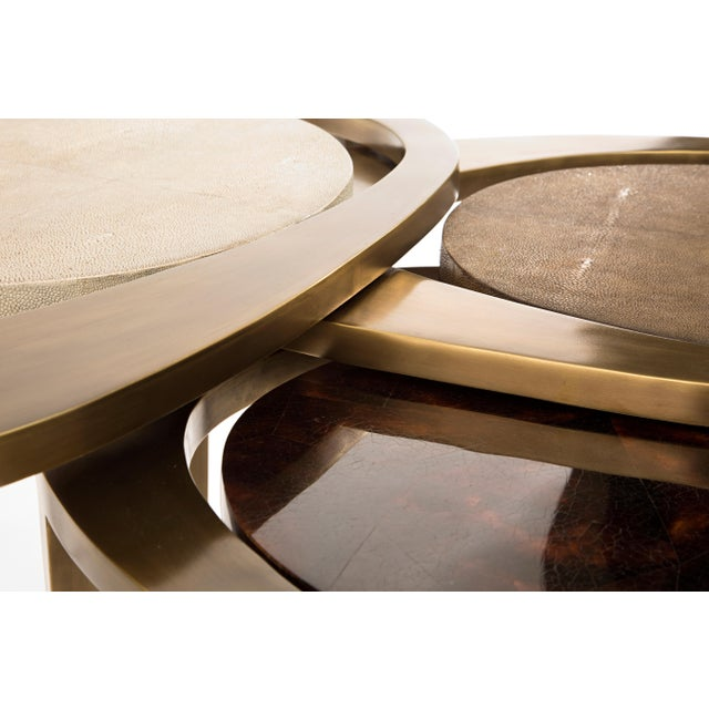 Metal Peacock Nesting Coffee Table in Cream Shagreen and Brass by R&y Augousti For Sale - Image 7 of 9