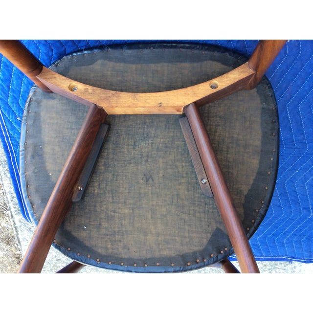 Ostervig Teak Leather Butterfly Chairs - Set of 5 - Image 8 of 9