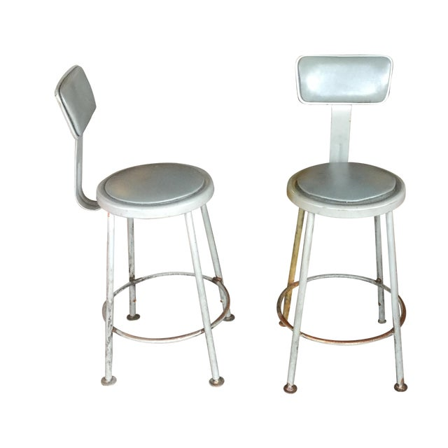 Industrial Stools - Pair - Image 1 of 7