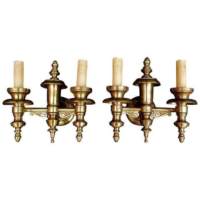 Art Deco Solid Brass Sconces - a Pair For Sale - Image 3 of 3