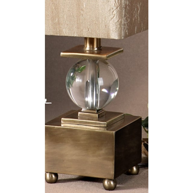 Brushed Brass & Crystal Ball Lamp - Image 3 of 4