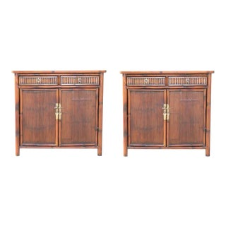Pair of Bamboo Side Tables / Cabinets For Sale