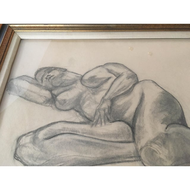 """Abstract Vintage Large Mid-Century Art Deco Abstract """"Laying Woman Figure Nude"""" Pencil Drawing For Sale - Image 3 of 9"""